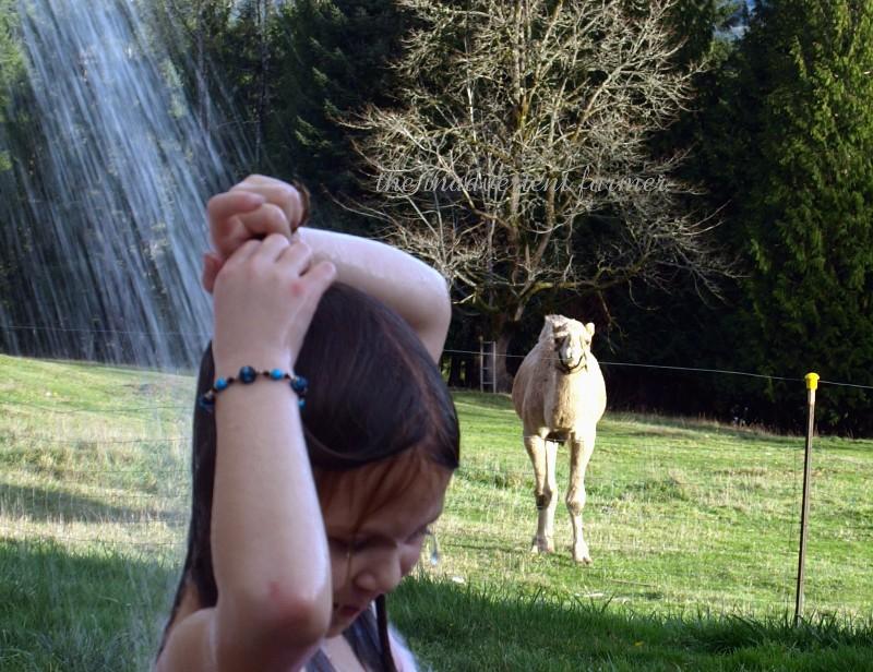 Outdoor shower wet girl camel