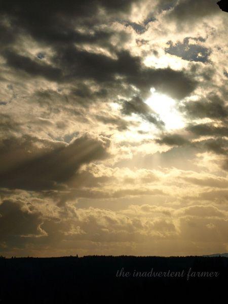 Brilliant sky sundown sun rays clouds dust