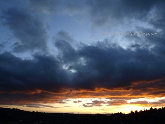 Cloudy sundown blue orange winter valley