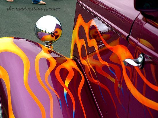 Flame hotrod car