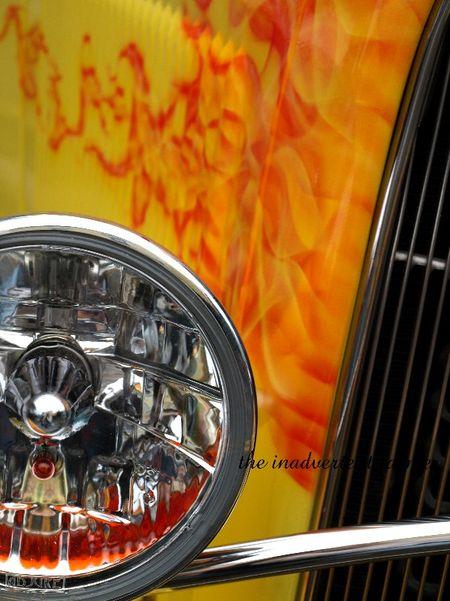 Flames bullet headlight lamp chrome hotrod yellow