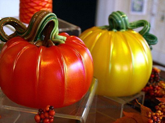 Hand blown glass pumpkins art