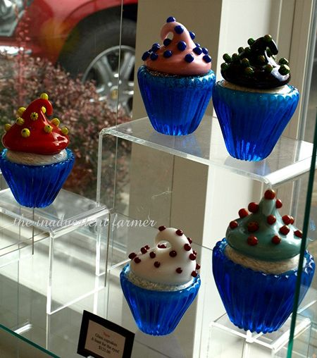 Hand blown glass cupcakes art