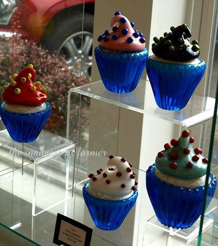 Hand blown glass cupcakes art