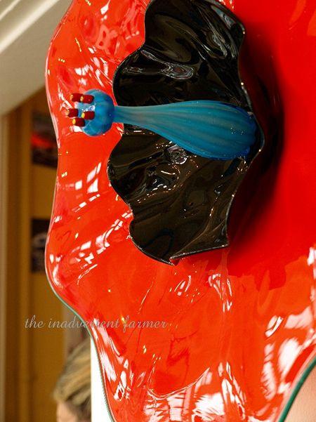 Hand blown glass flower red black