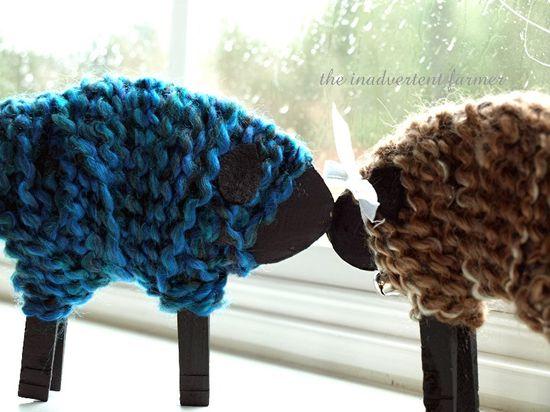 Kid craft yarn clothes pin easy sheep