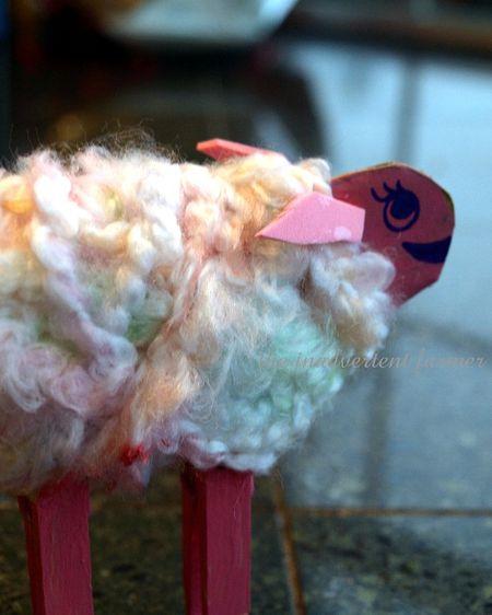 Pink sheep kids craft yarn clothes pin homeschool