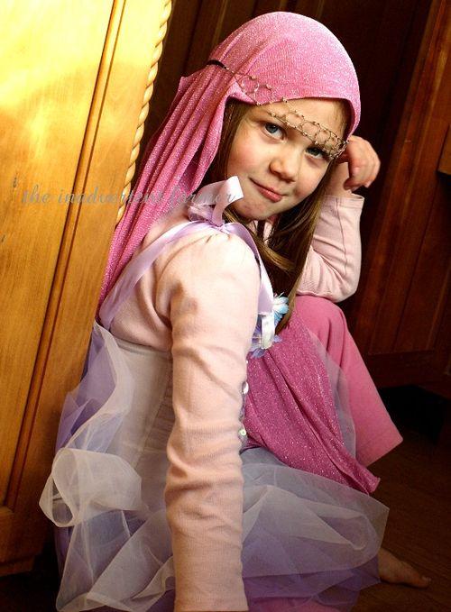 Pink ballerina princess head scarf funny tutu