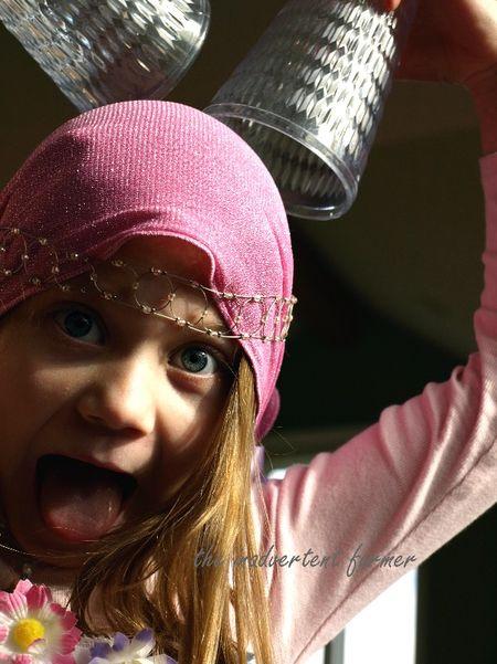 Pink ballerina princess head scarf silly