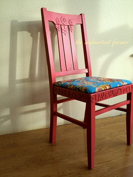 Red chair paint flowers