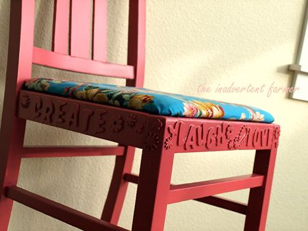 Love chair pink flowers fun paint