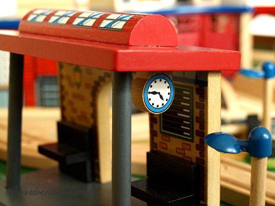 Train set station clock wood
