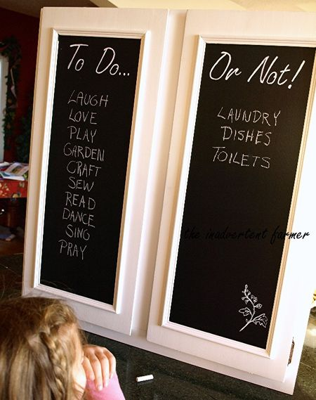 Cabinet doors chalkboard to do list