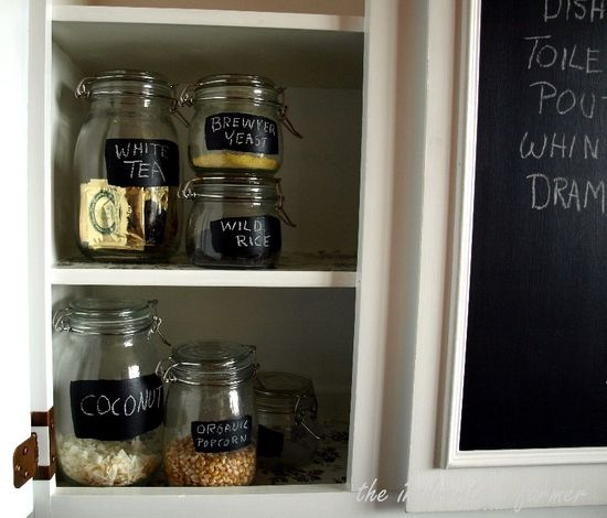 Cabinet chalkboard glass jars