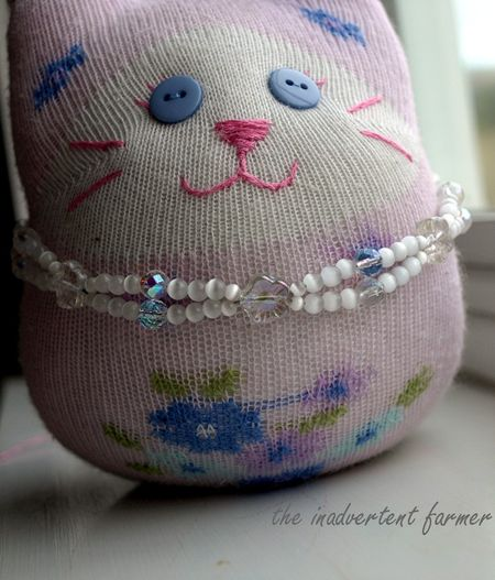 Sock kitty craft necklace