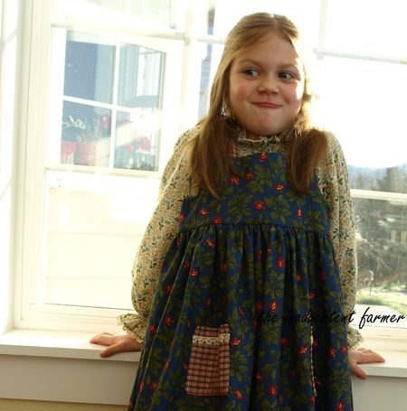 Little prarie dress blue girl smile