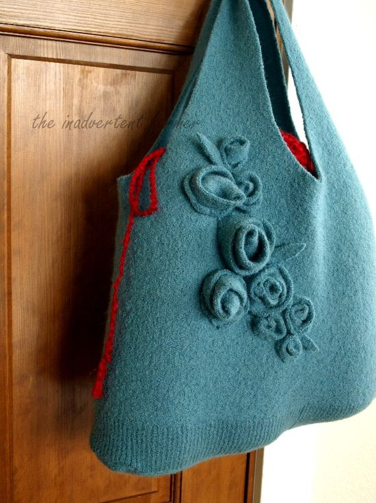 Felted wool bag sweater handmade roses