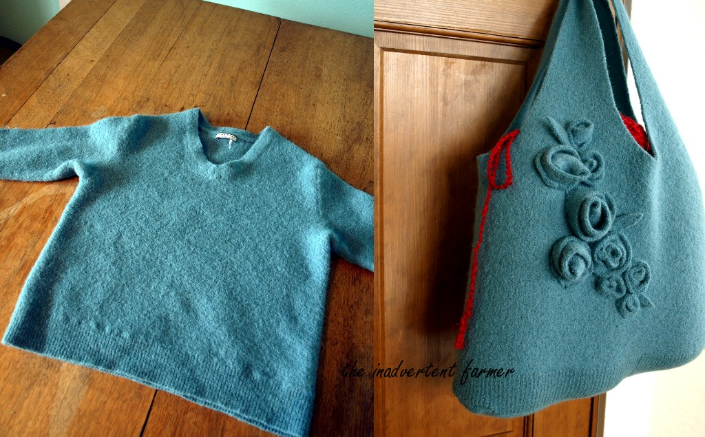 Wool Sweater Bag Roses Handmade Craft Felted