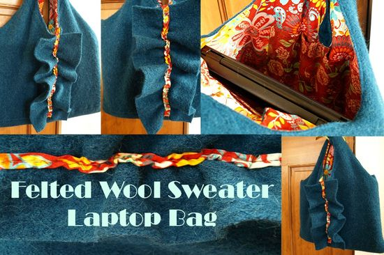 Felted wool sweater laptop bag collage