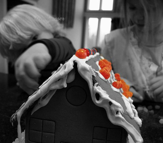 Black white gingerbread house kids decorate