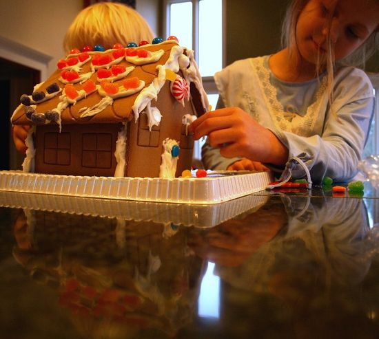 Gingerbread house kids decorate reflection
