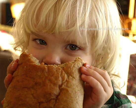 Blond toddler boy bread
