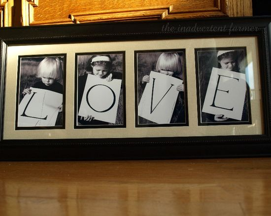 Love black white frame children