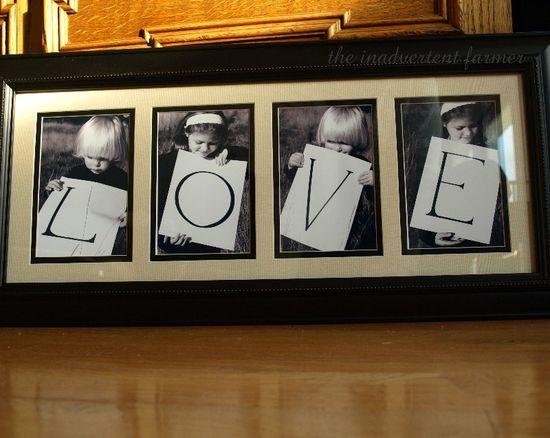 Love black white frame children