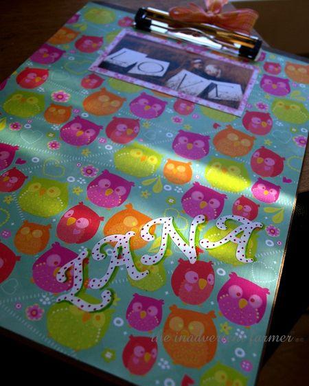 Clipboard craft owls gift