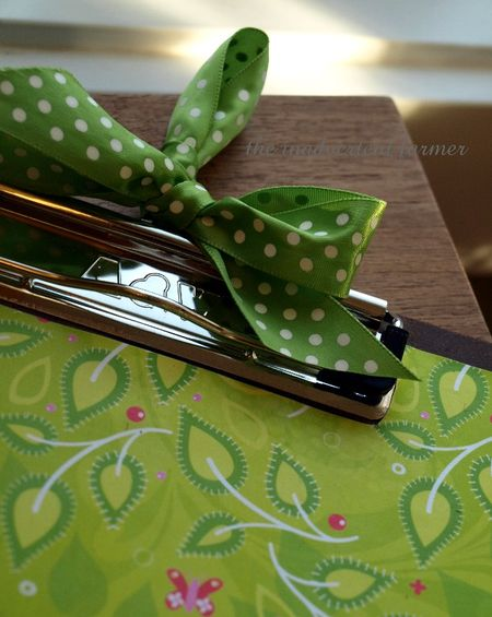 Green polka dot ribbon bow