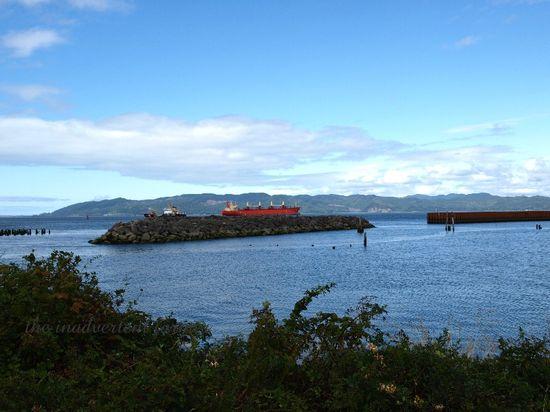 Astoria harbor shipe water sky