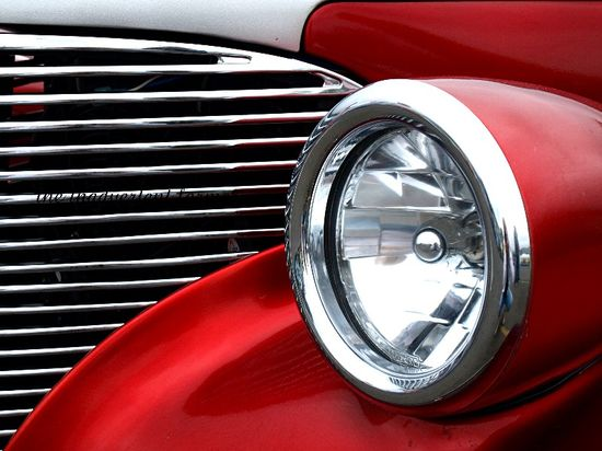 Sexy red hotrod bullet headlamp chrome