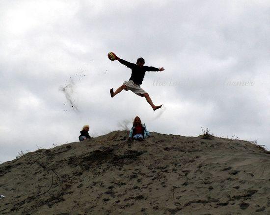 Jump sand dune oregon coast beach pacific