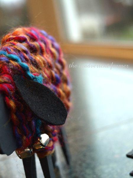 Colored sheep kids craft yarn
