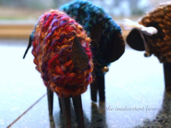 Sheep tail felt yarn craft