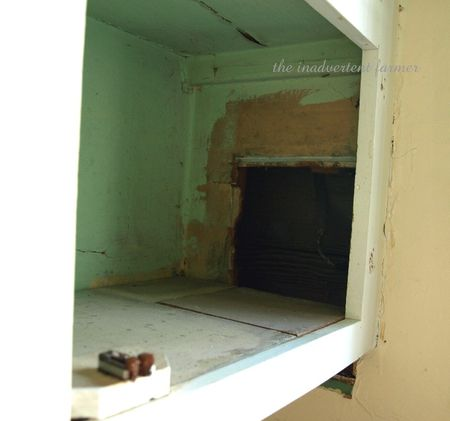 Old kitchen cabinet hole