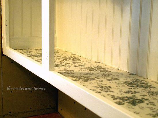 Kitchen cabinet bead board shelp paper roses black white