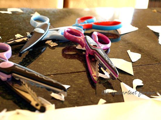 Scissors snowflakes paper