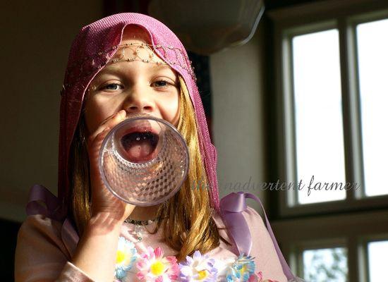Singing pink ballerina princess head scarf laugh