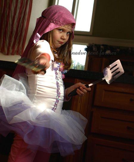 Ninja warrior princess ballerina pink head scarf girl battle