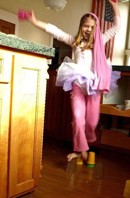 Pink ballerina dance bare feet scarf play