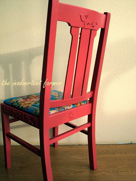 Chair back paint red flowers