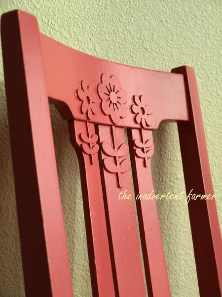 Chair bakc flowers paint