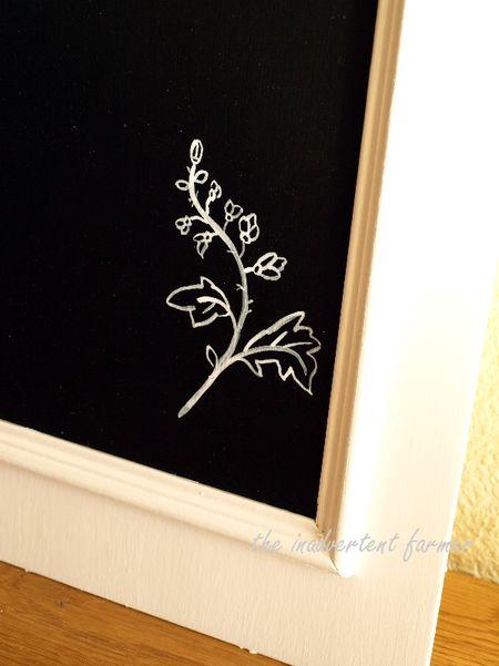 Craft paint chalkboard cabinet door