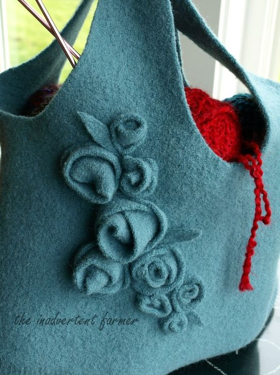 Wool sweater bag knitting