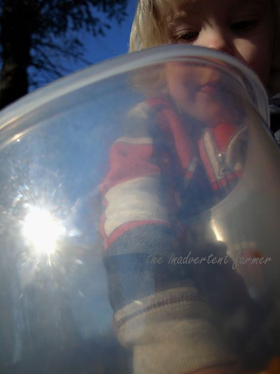 Perspective boy bucket eat arm