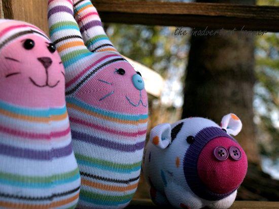 Sock monster cat bunny pig bench