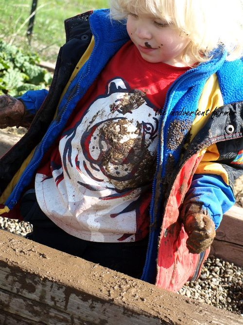 Good garden day muddy little blond boy