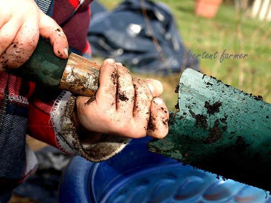 Little boy hands dirt dirty shovel garden pot