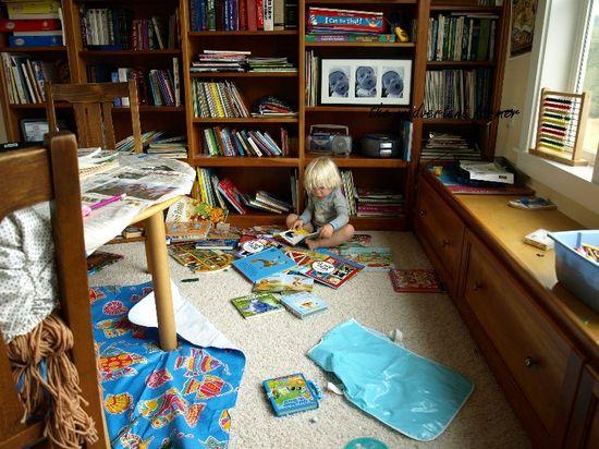 Library homeschool room mess
